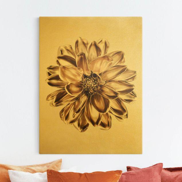 Leinwandbild Gold - Dahlie Blume Gold Metallic - Hochformat 3:4