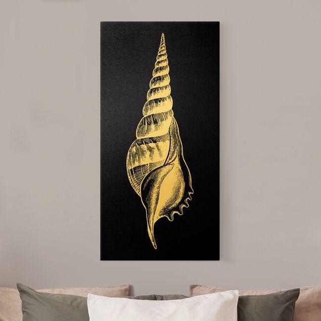 Leinwandbild Gold - Illustration Muschel auf Schwarz - Hochformat 1:2