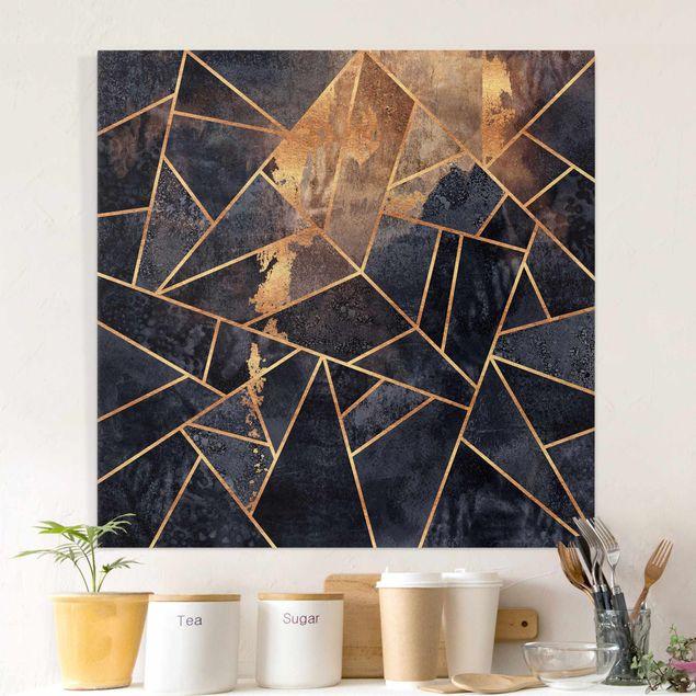 Leinwandbild - Elisabeth Fredriksson - Onyx mit Gold - Quadrat 1:1