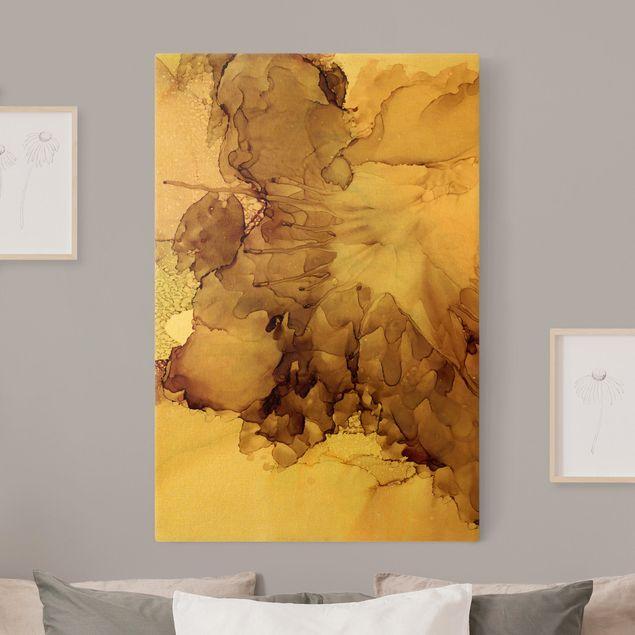 Leinwandbild Gold - Goldbraune Explosion I - Hochformat 2:3