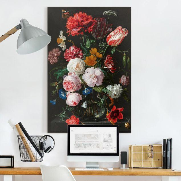 Leinwandbild - Jan Davidsz de Heem - Stillleben mit Blumen in einer Glasvase - Hochformat 3:2