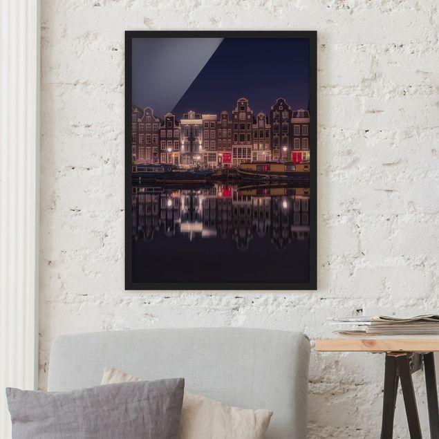 Bild mit Rahmen - Hausboote in Amsterdam - Hochformat 3:4