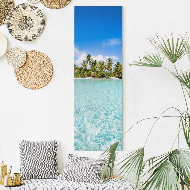 Leinwandbild - Crystal Clear Water - Panorama Hochformat 1:3