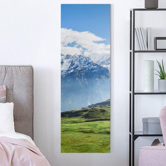 Leinwandbild - Schweizer Alpenpanorama - Panorama Hochformat 1:3