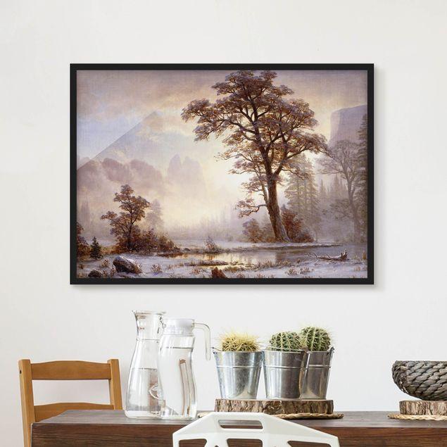 Bild mit Rahmen - Albert Bierstadt - Yosemite Valley bei Schneefall - Querformat 3:4