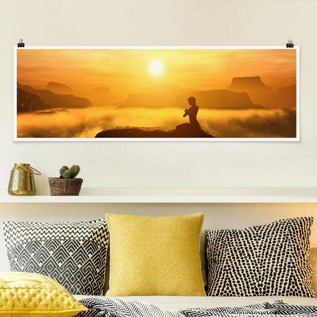 Poster - Yoga Meditation - Panorama Querformat