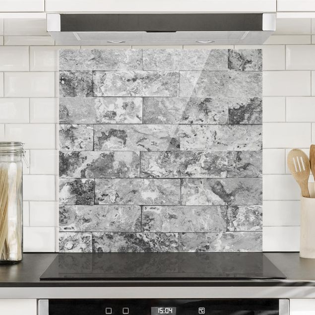 Glas Spritzschutz - Steinwand Naturmarmor grau - Quadrat - 1:1