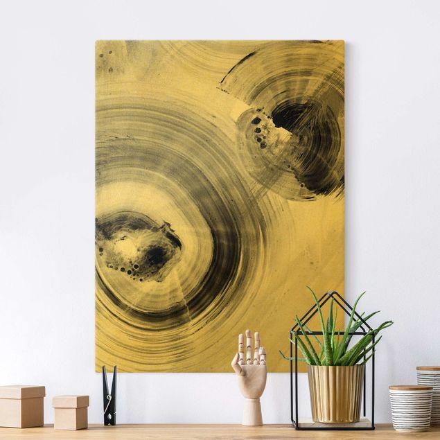 Leinwandbild Gold - Geschwungene Kreise Schwarz Weiß - Hochformat 3:4