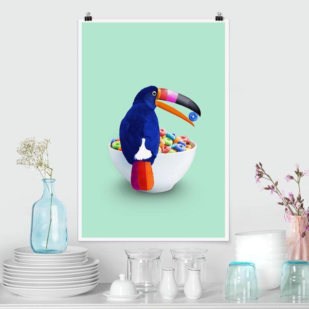 Poster - Jonas Loose - Frühstück mit Tukan - Hochformat 3:2