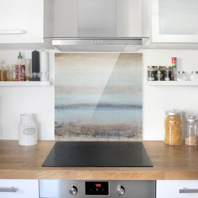 Glas Spritzschutz - Horizont über Blau I - Quadrat - 1:1