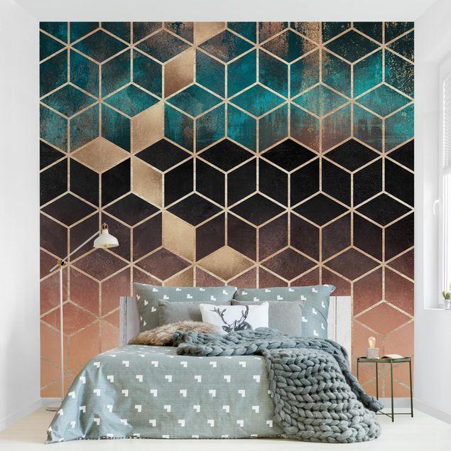 Fototapete - Türkis Rosé goldene Geometrie - Fototapete Quadrat