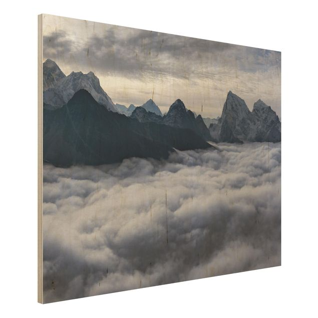 Holzbild - Wolkenmeer im Himalaya - Querformat 3:4