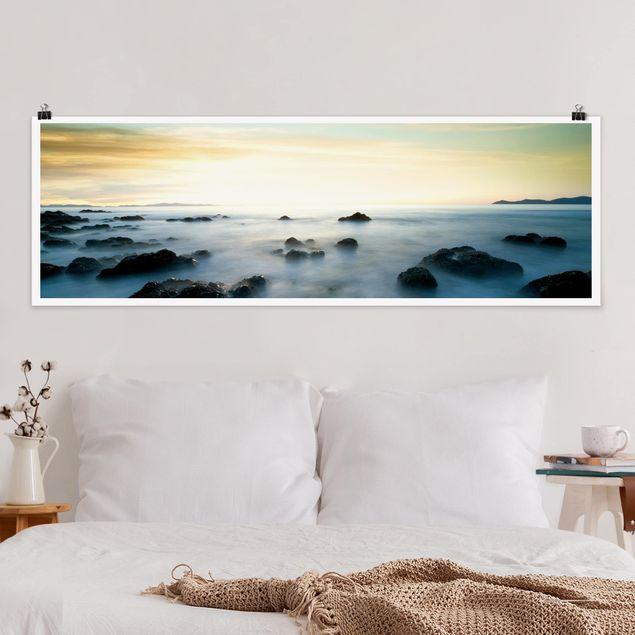 Poster - Sonnenuntergang über dem Ozean - Panorama Querformat