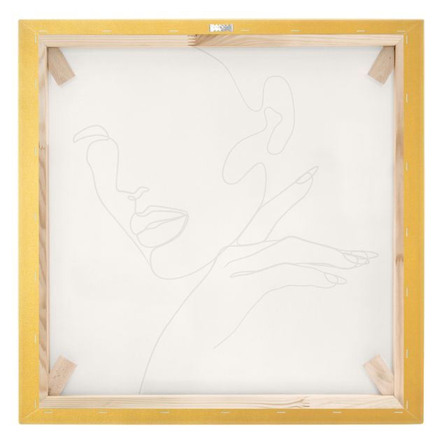 Leinwandbild Gold - Line Art Frau Portrait Schwarz Weiß - Quadrat 1:1