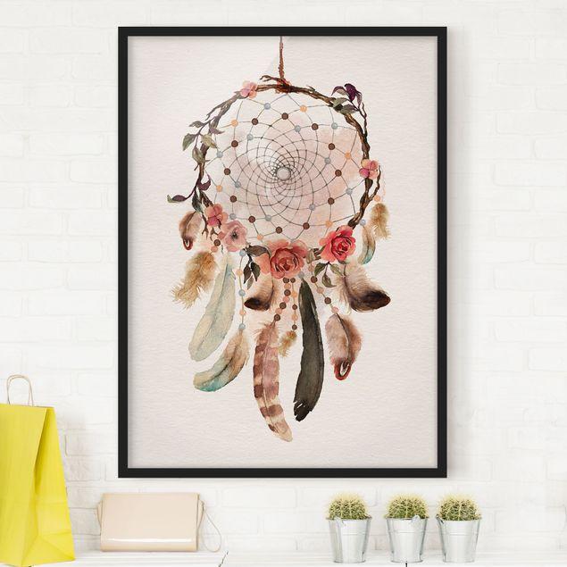 Bild mit Rahmen - Traumfänger mit Perlen - Hochformat 3:4