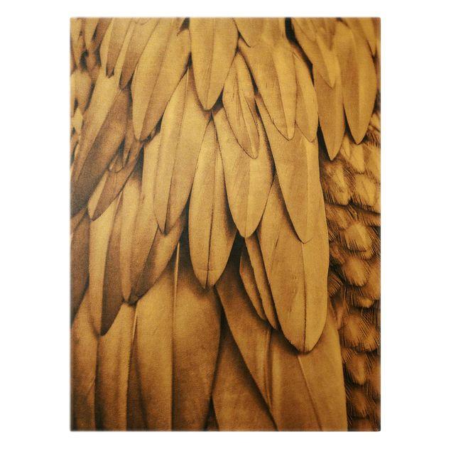 Leinwandbild Gold - Federn in Rosegold - Hochformat 3:4