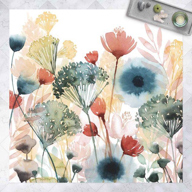 Vinyl-Teppich - Wildblumen im Sommer I - Quadrat 1:1