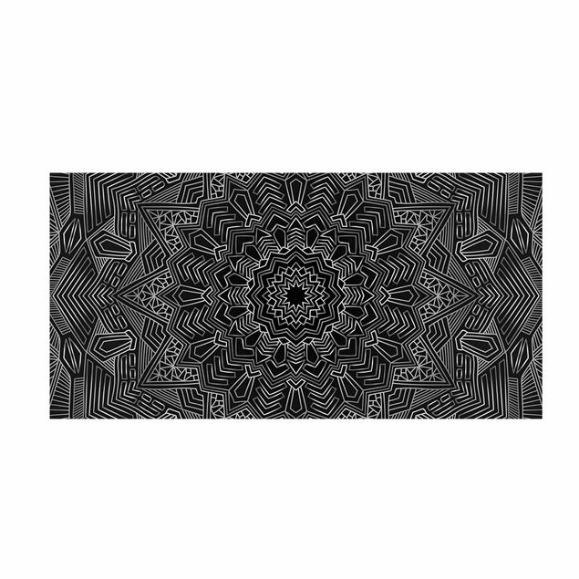 Vinyl-Teppich - Mandala Stern Muster silber schwarz - Querformat 2:1