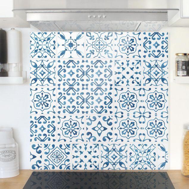 Glas Spritzschutz - Fliesenmuster Blau Weiß - Quadrat - 1:1