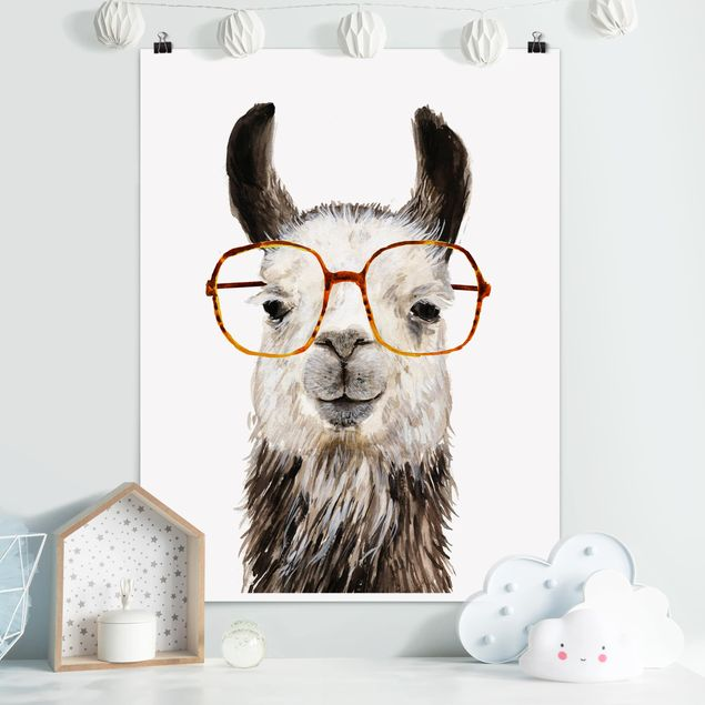 Poster - Hippes Lama mit Brille IV - Hochformat 3:4