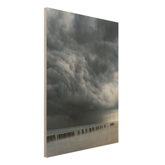 Holzbild - Sturmwolken über der Ostsee - Hochformat 4:3