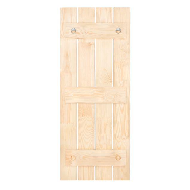 Wandgarderobe Holz - Colonial Style Collage - Rosa Kakadu - Haken chrom Hochformat