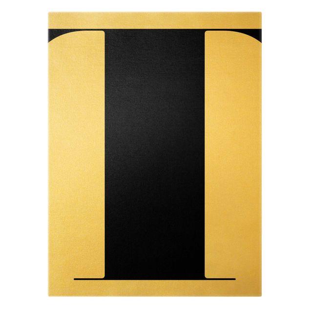 Leinwandbild Gold - Antiqua Letter T - Hochformat 3:4
