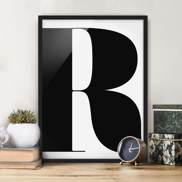 Bild mit Rahmen - Antiqua Letter R - Hochformat 3:4
