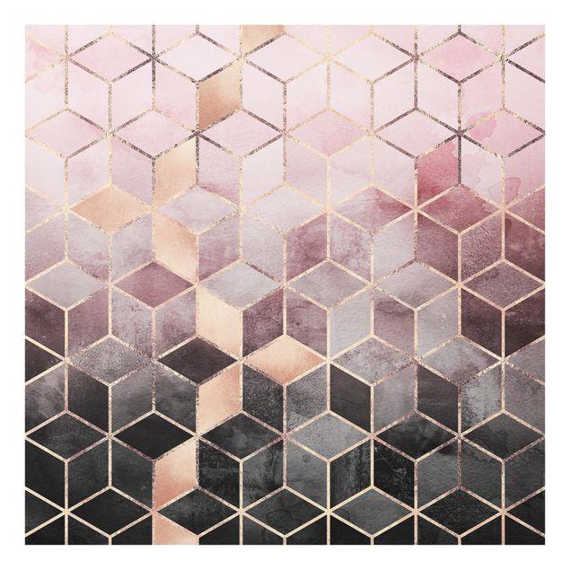 Glas Spritzschutz - Rosa Grau goldene Geometrie - Quadrat - 1:1