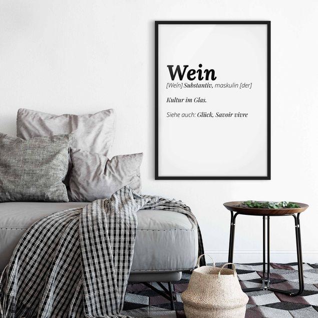 Bild mit Rahmen - Die Definition von Wein - Hochformat 3:4