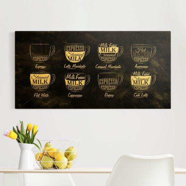 Leinwandbild Gold - Kaffeesorten Kreidetafel - Querformat 2:1
