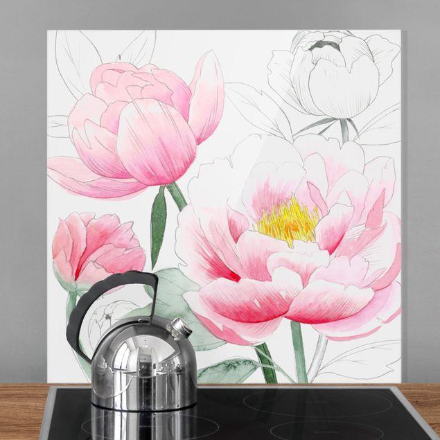 Glas Spritzschutz - Zeichnung Rosa Päonien I - Quadrat - 1:1