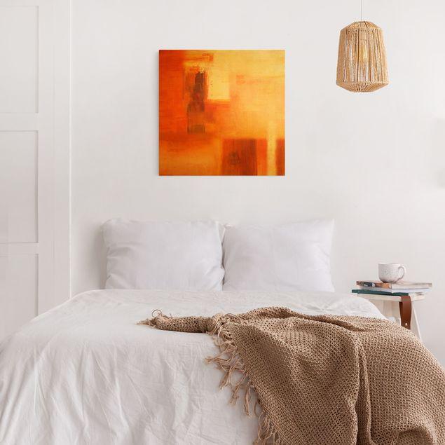 Leinwandbild Gold - Komposition in Orange und Braun 02 - Quadrat 1:1