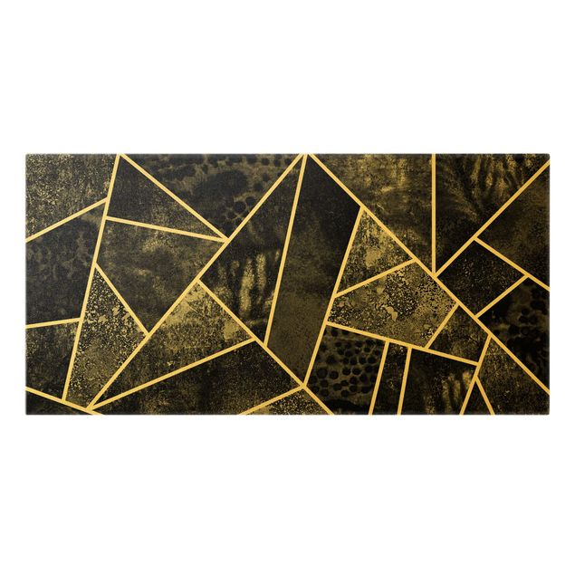 Leinwandbild Gold - Goldene Geometrie - Graue Dreiecke - Querformat 2:1