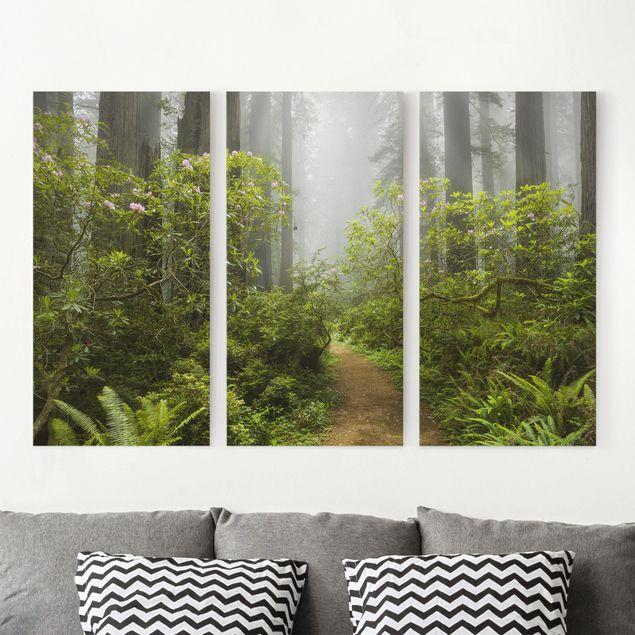 Leinwandbild 3-teilig - Nebliger Waldpfad - Hoch 1:2
