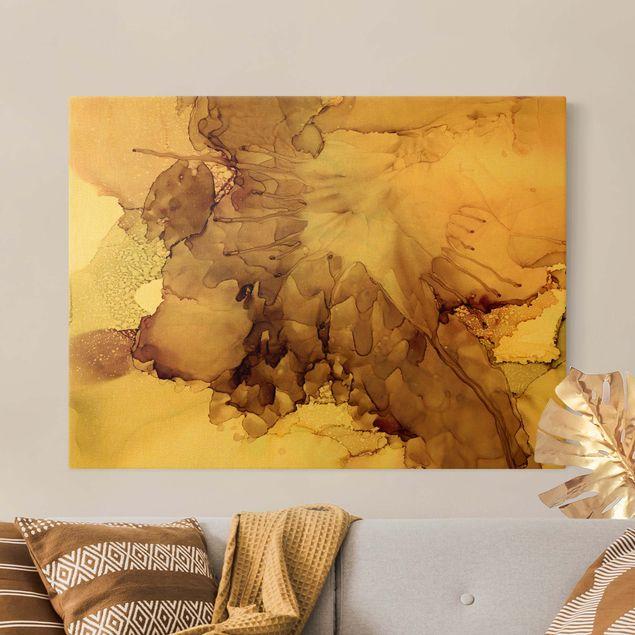 Leinwandbild Gold - Goldbraune Explosion I - Querformat 4:3