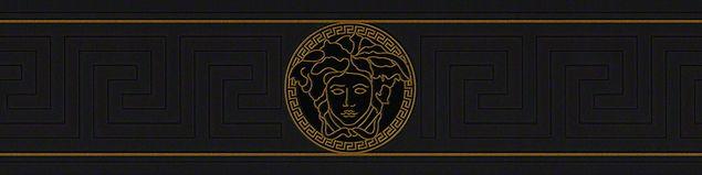 Versace wallpaper Mustertapete Versace 3 Greek in Metallic, Schwarz