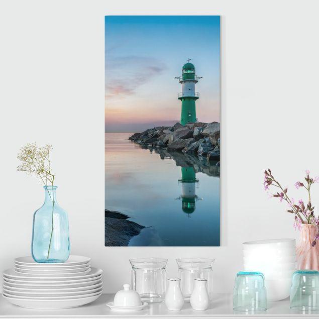 Leinwandbild - Sunset at the Lighthouse - Hochformat 1:2