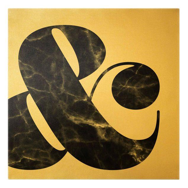 Leinwandbild Gold - Ampersand Marmor - Quadrat 1:1