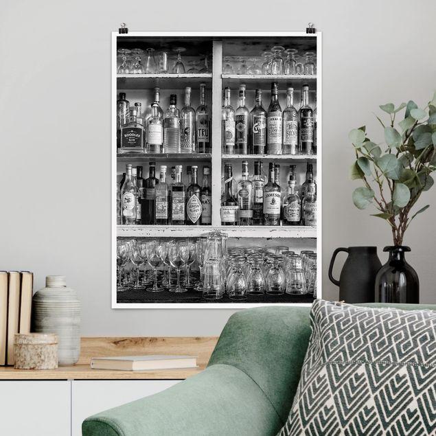 Poster - Bar Schwarz Weiß - Hochformat 3:4