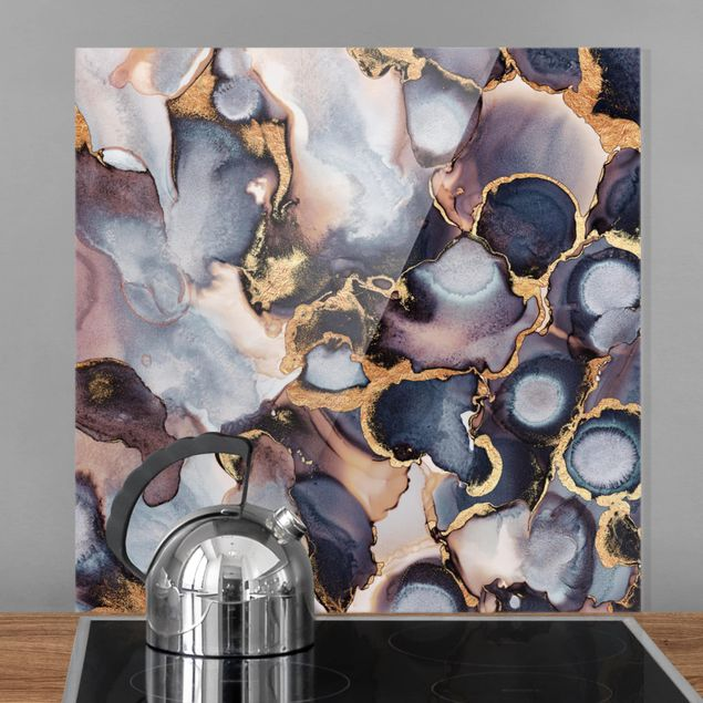 Glas Spritzschutz - Marmor Aquarell mit Gold - Quadrat - 1:1