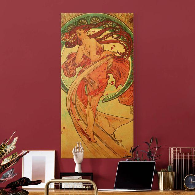 Leinwandbild Gold - Alfons Mucha - Vier Künste - Der Tanz - Hochformat 1:2
