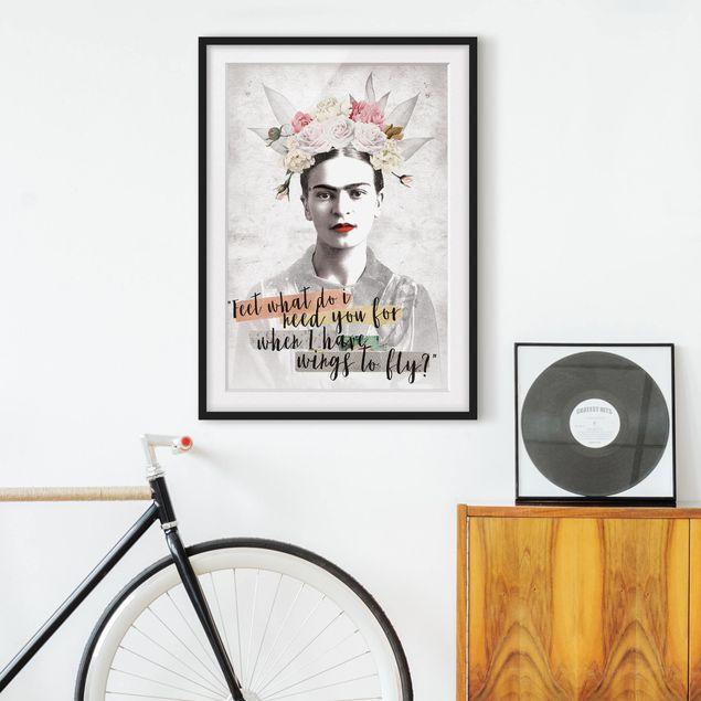Bild mit Rahmen - Frida Kahlo - Quote - Hochformat 4:3