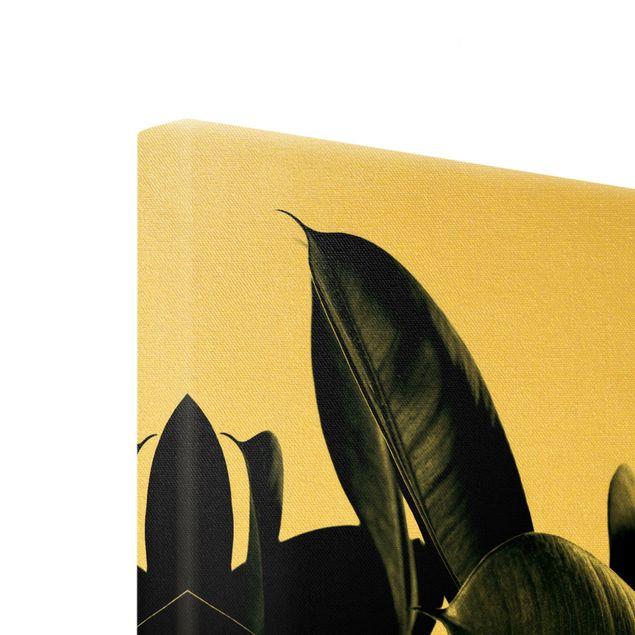 Leinwandbild Gold - Gummibaum Blätter Dunkelgrün - Hochformat 3:4