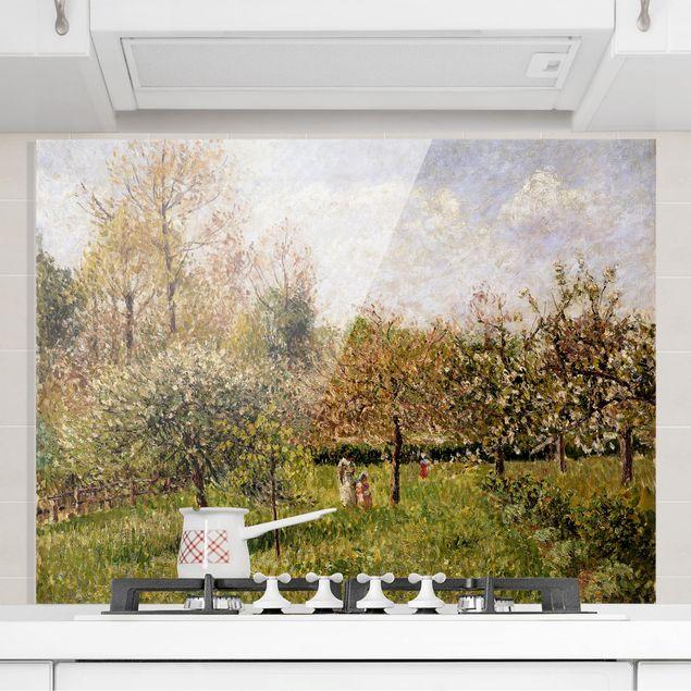 Spritzschutz Glas - Camille Pissarro - Frühling in Eragny - Querformat 3:4
