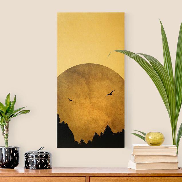 Leinwandbild Gold - Goldmond im Wald - Hochformat 1:2