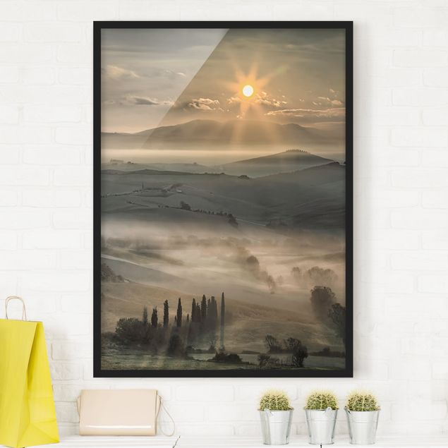 Bild mit Rahmen - Toskana-Morgen - Hochformat 3:4