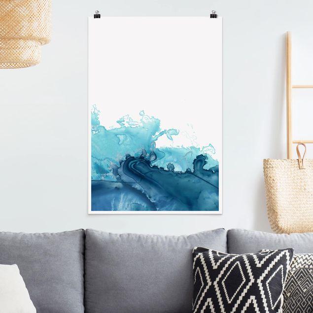 Poster - Welle Aquarell Blau I - Hochformat 3:2