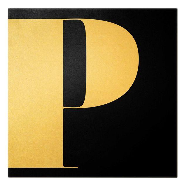 Leinwandbild Gold - Antiqua Letter P Schwarz - Quadrat 1:1
