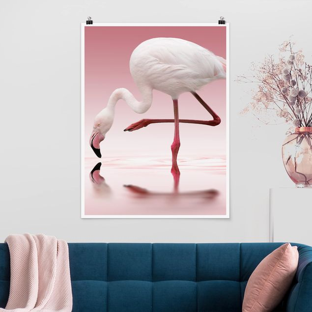 Poster - Flamingo Dance - Hochformat 3:4